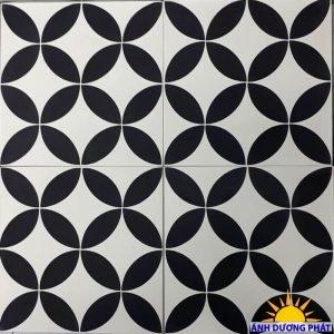 Gạch bông hoa văn tông màu trắng xám đen