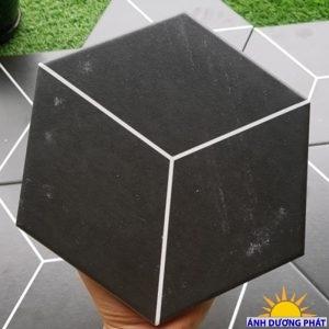 Gạch đá lục giác trang trí màu đen đường sọc trắng