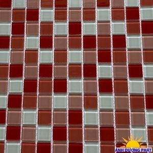 Gạch Mosaic thủy tinh trang trí màu hồng trắng