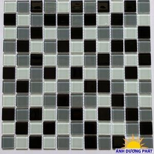 Gạch mosaic thủy tinh trộn màu đen trắng