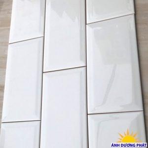 Gạch thẻ trang trí ốp tường màu trắng vát cạnh