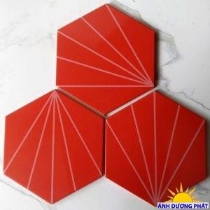Gạch lục giác 20×23 cm ốp bếp màu đỏ